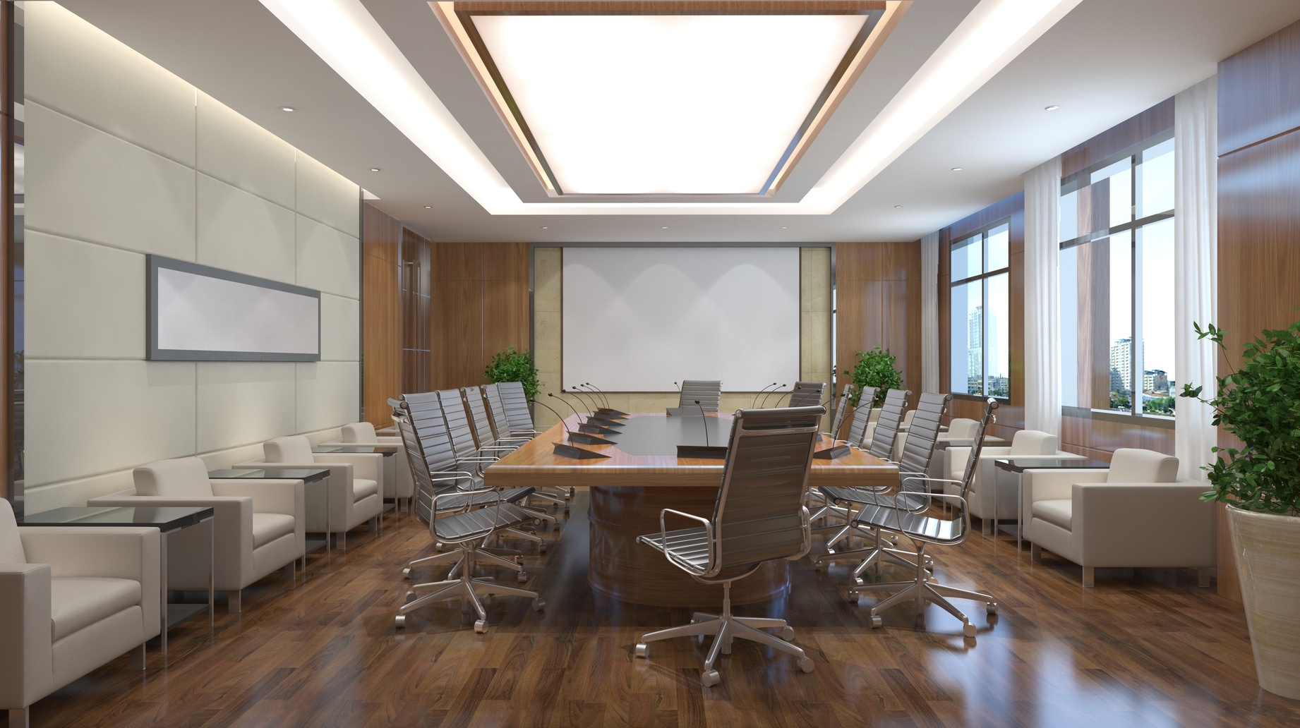 Photorealistic 3d render of a office
